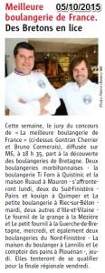 Le Télégramme annonçait la diffusion de notre passage à La Meilleure Boulangerie de France, sur M6!